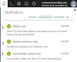 notification in Azure portal