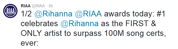 Rihanna makes history with RIAA 100M Song Awards