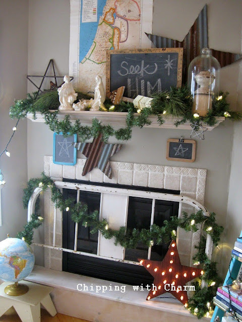 Chipping with Charm: Christmas Mantel 2014...www.chippingwithcharm.blogspot.com