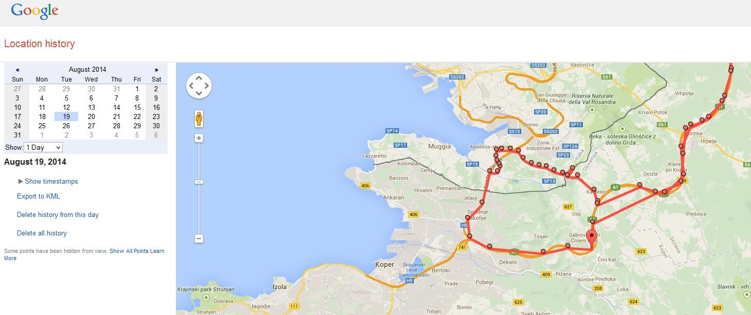 Sample of Google Location History