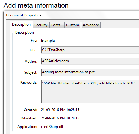 Adding meta information of PDF file using iTextSharp