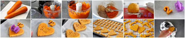 Step-by-step making carrot and peanut butter dog treats