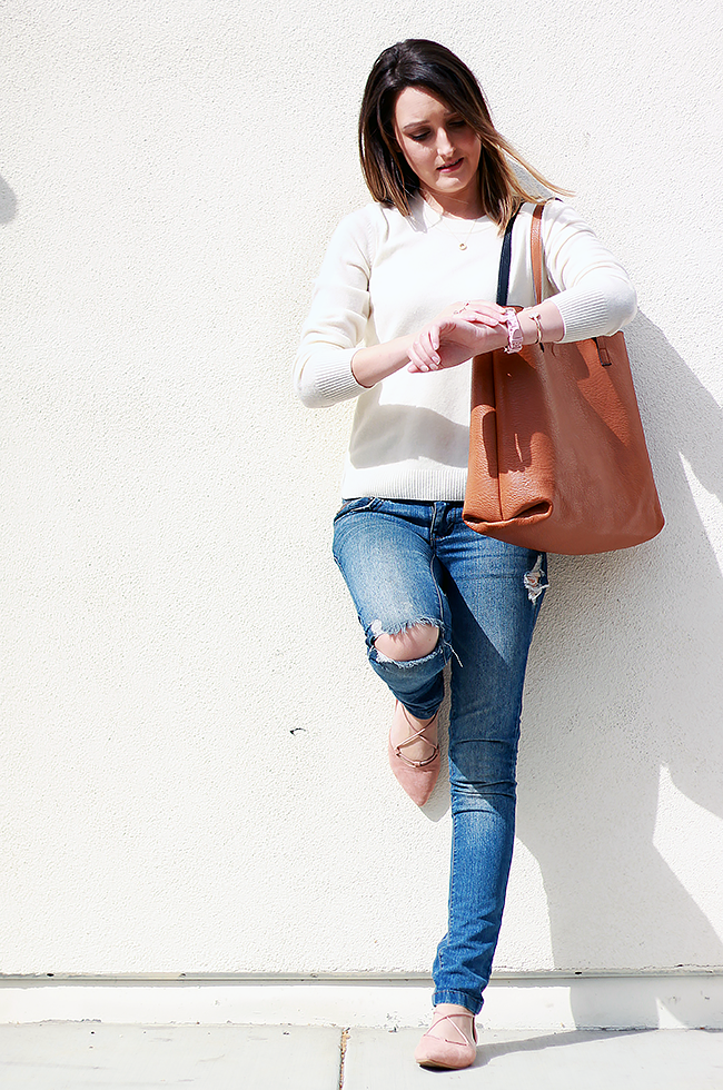 Spring sweater and blush lace up flats   A Good Hue