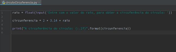 Script Python circunferência do círculo