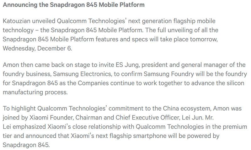 Snapdragon 845 Mobile Platform announced!