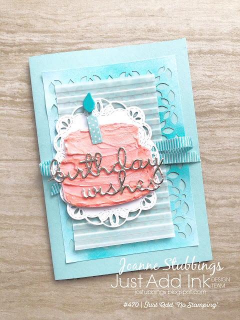 Jo's Stamping Spot - Just Add Ink Challenge #470 No Stamping Challenge using Well Written framelits, Sweet Cake framelits and Detailed Laser Cut Paper by Stampin' Up!
