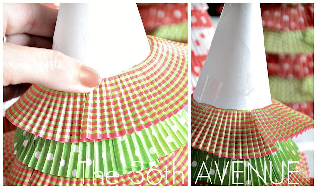 Cupcake Liners Christmas Trees Tutorial at the36thavenue.com ...So cute!