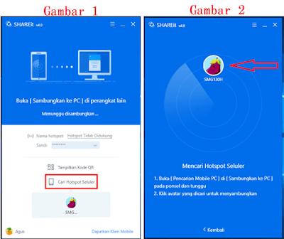 Contoh ilustrasi gambar tampilan menghubungkan shareit di laptop