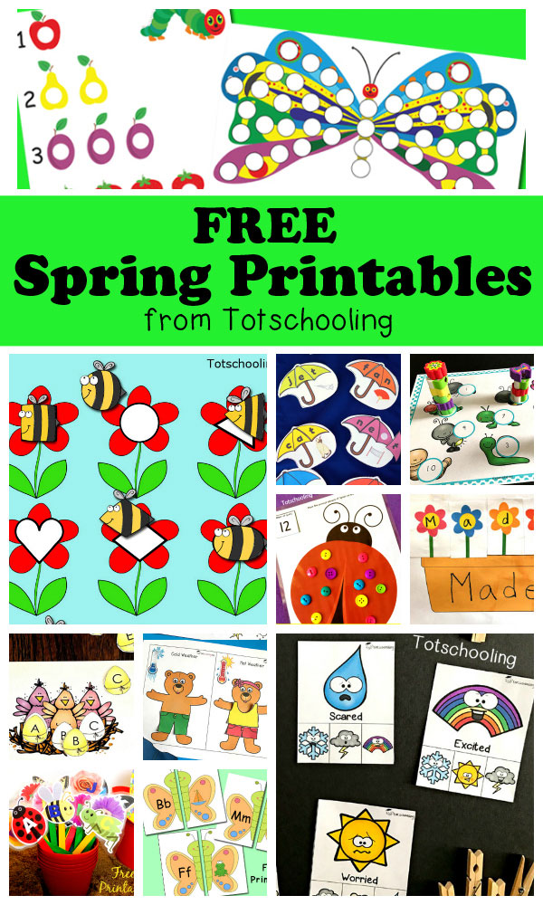 FREE Spring printables for toddlers, preschool and kindergarten featuring weather, flowers, bugs, caterpillars, butterflies, etc. Large collection of activities including counting, numbers, alphabet, sounds, letter recognition, sight words, cvc, pre-writing, tracing, coloring, matching, puzzles and more!