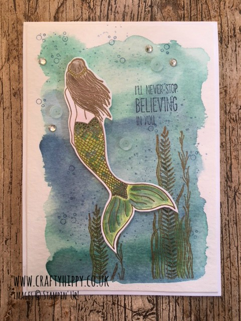 Learn how to create a beautiful Mermaid greetings card using Marina Mist, Pool Party and the Magical Mermaid stamp set by Stampin' Up!