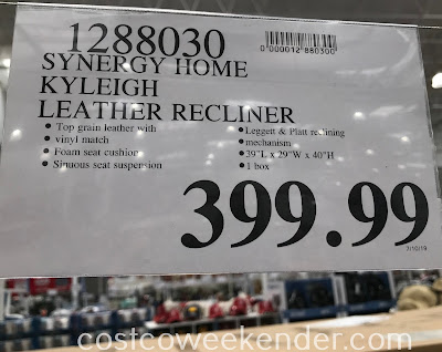 Deal for the Synergy Home Kyleigh Leather Pushback Recliner at Costco