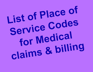 Place of Services codes for billing & claims