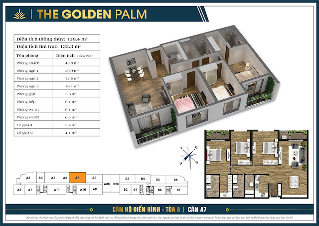 Căn A7 - 129m - The Golden Palm