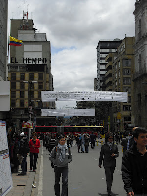 The newly pedestrianised Carrera Septima (7th Street) in down-town Bogotá