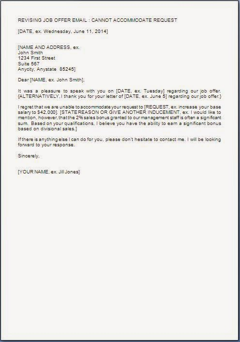 Salary negotiation rejection letter for Salary negotiation email template