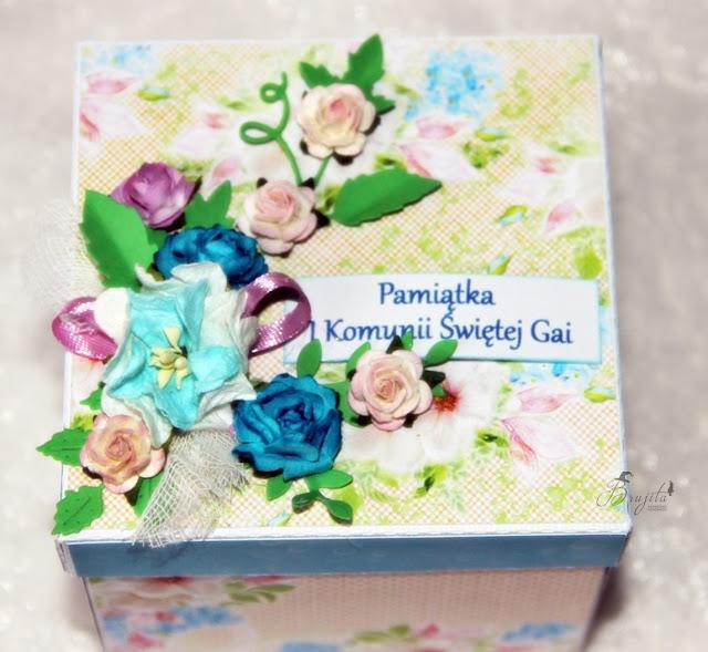 niebieski exploding box, prezent na komunię, manga, magiczna kartka inspriracje, I Komunia Święta, Gaja, tekturki I-Kropka