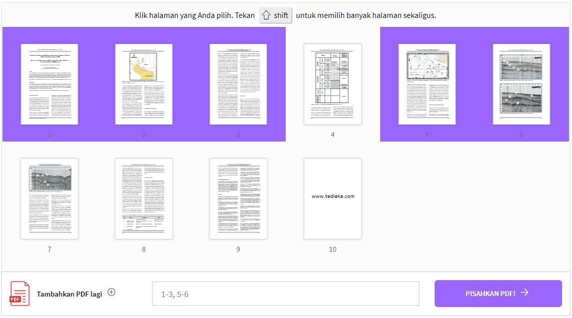 split pdf online dengan smallpdf