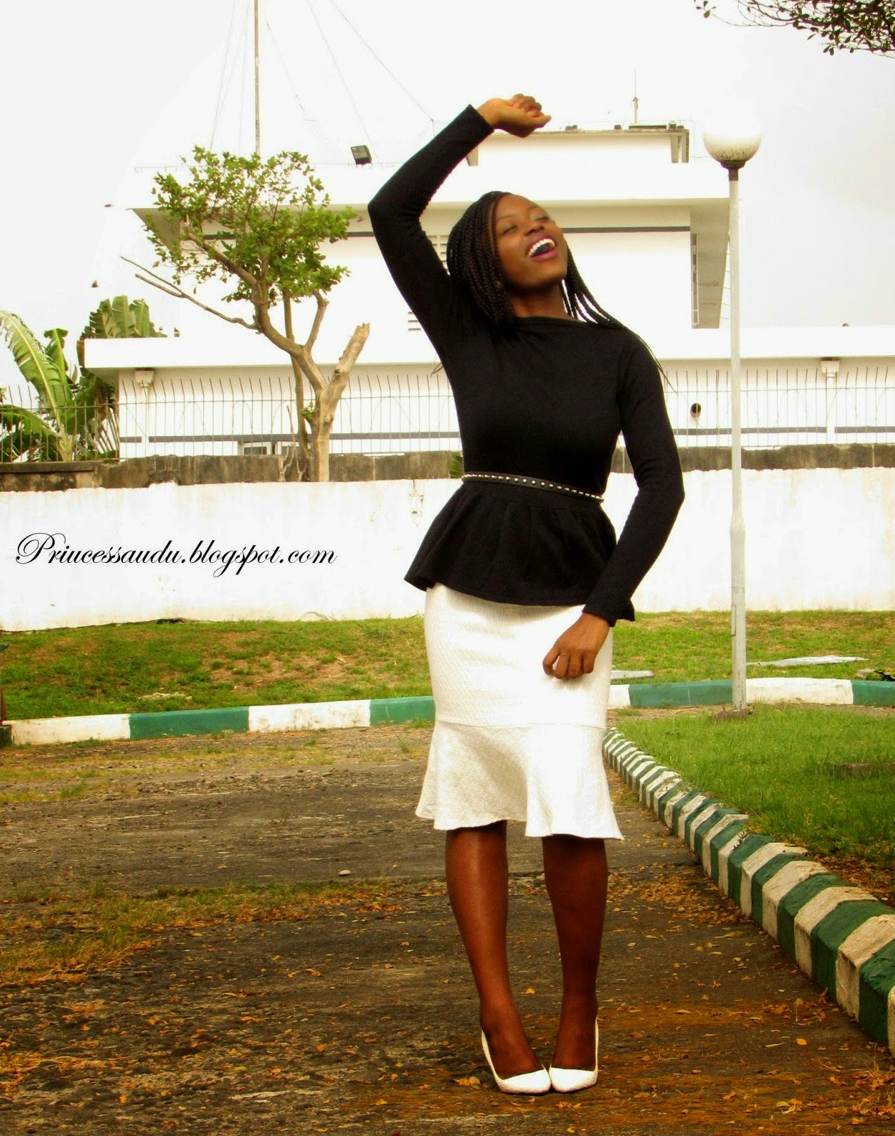monochrome, black and white, peplum
