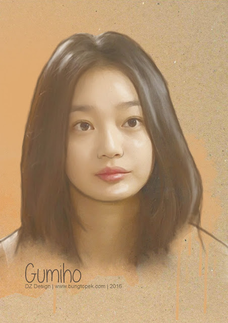 Shin Min Ah (Gumiho) in Sketch Painting Art