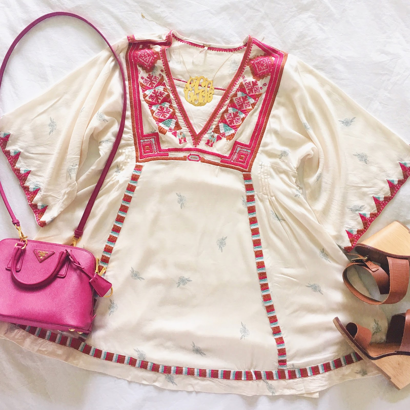 pink prada trapezoid bag, oversized gold monogram, free people tulum embroidered dress, nordstrom N sale anniversary sale 2016, shop the Nordstrom anniversary sale 2016
