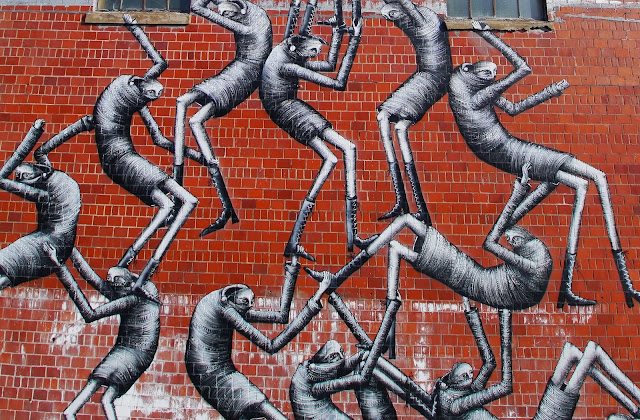 New Street Art Mural By Phlegm which was painted on the wall of an old Bourbon distillery in Lexington Kentucky. 5
