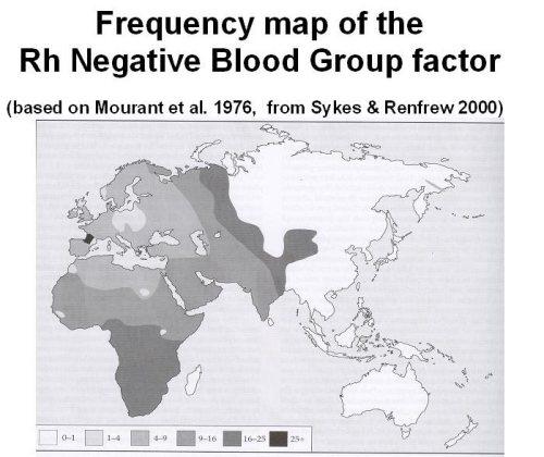 Según una estimación realizada, en el continente africano, medio oriente y parte de Europa, existe la mayor concentración de individuos con el factor Rh negativo. Coincidentemente en la zona y alrededores de donde supuestamente los Anunnaki se establecieron: Sumeria.