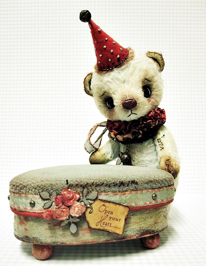 viscose clown teddy bear, vintage box