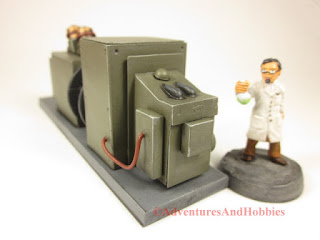 T2313 industrial equipment scenery for 25-28mm miniature games - left end view.