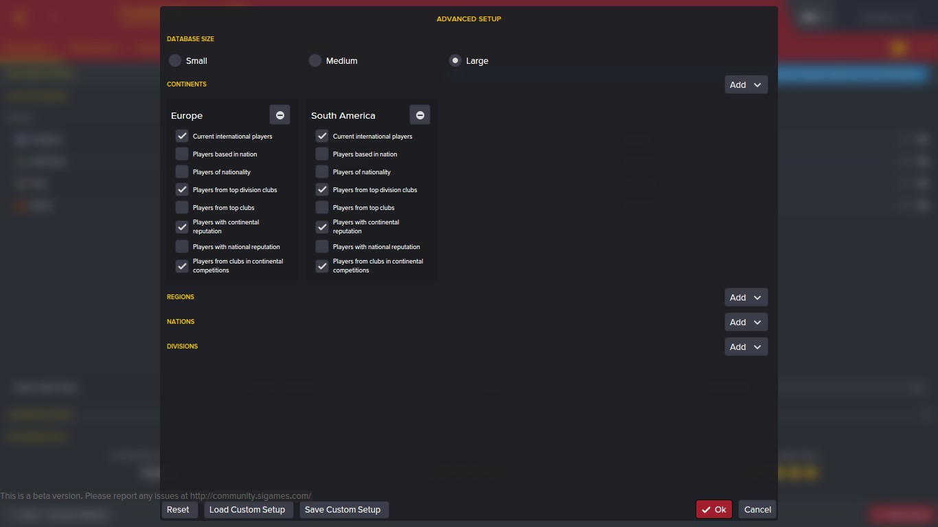 Advanced database setup