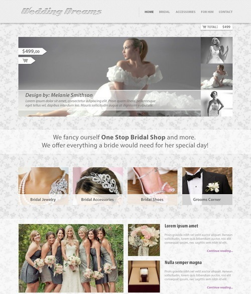 Wedding Dreams PSD website template