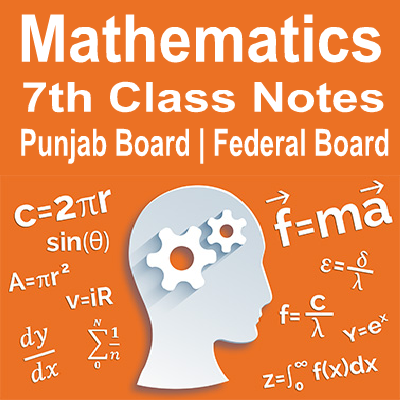 7th Mathematics Notes Federal / Punjab Board - Easy MCQs