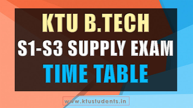 ktu supply timetable