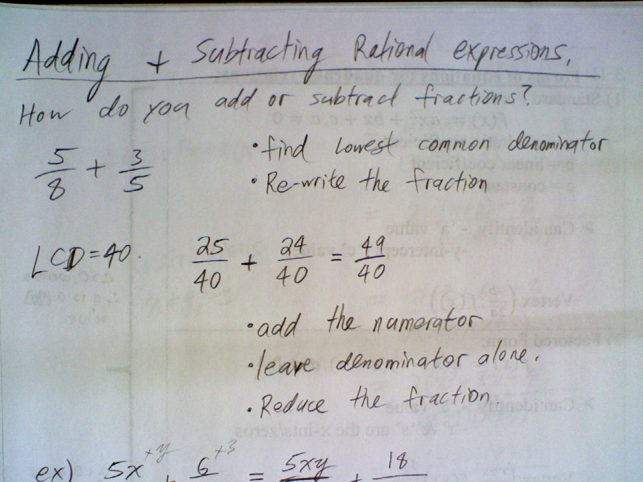 Mar 1 Class Adding And Subtracting Rational Expressions