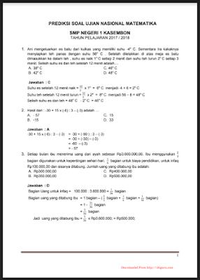 Soal UN Matematika SMP 2017/2018 dan Kunci Jawabannya