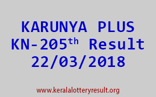 KARUNYA PLUS Lottery KN 205 Results 22-03-2018