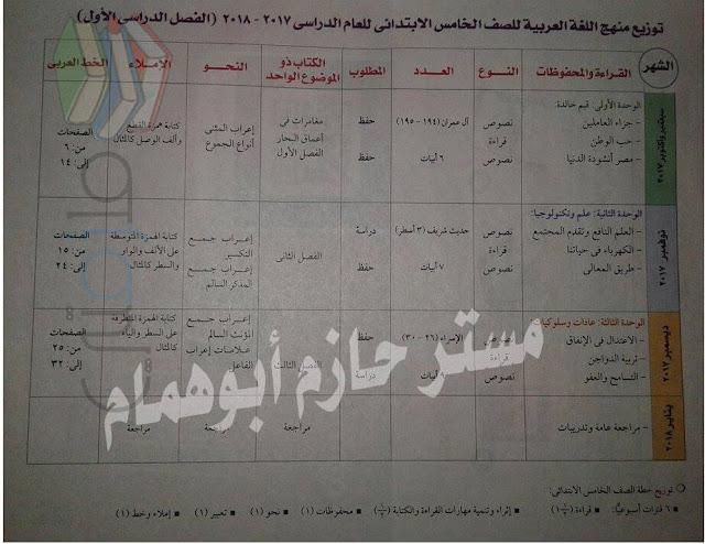 توزيع منهج اللغة العربية للصف الخامس الإبتدائى ترم أول 2017/2018