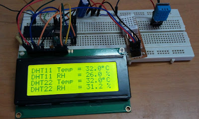 DHT11 VS DHT22 Hardware circuit using PIC16F877A and 2004 (20x4) LCD