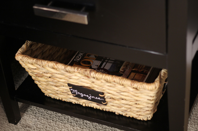 Magazine basket on nightstand shelf