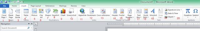 Fungsi Toolbar ataupun Icon insert pada microsoft word