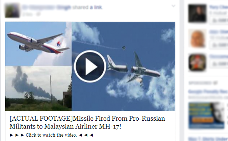 'Real Footage of Malaysian Flight MH 17 Shot Down' Facebook Spam Spreads Malware