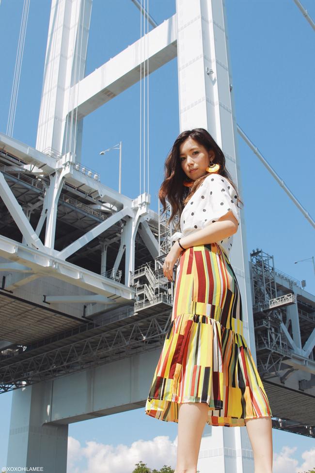 日本人ファッションブロガー,MizuhoK,20170926今日のコーデ,SheIn-ポルカドットブラウス,マルチカラーブロックストライプワンピース,フェイクパールスリッパサンダル,オレンジ フリンジイヤリング,Rosegal-ポルカドットとストライプのクロスボディバッグ, at 瀬戸大橋