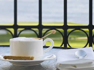Cup of Cappuccino, Pebble Beach Golf Club, Carmel, California, USA