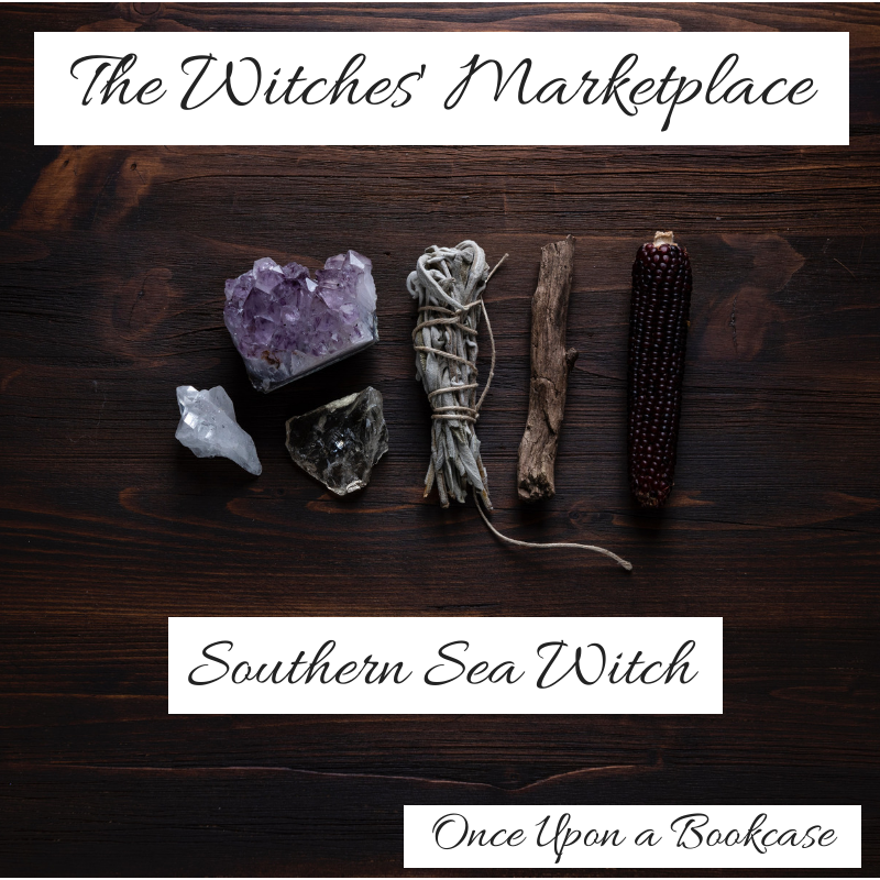 A photo of a witch's tools, featuring an amethyst, a clear quartz, a cleansing bundle, and a stick, with the words The Witches's Marketplace, Southern Sea Witch