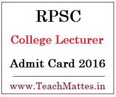 image : RPSC College Lecturer Admit Card 2016-17 @ www.TeachMatters.in