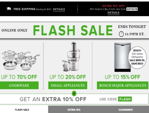 Hudson's Bay Flash Sale Up To 70% off Cookware, 20% off Small Appliances, 15% off Major Appliances + Extra 10% Off Promo Code