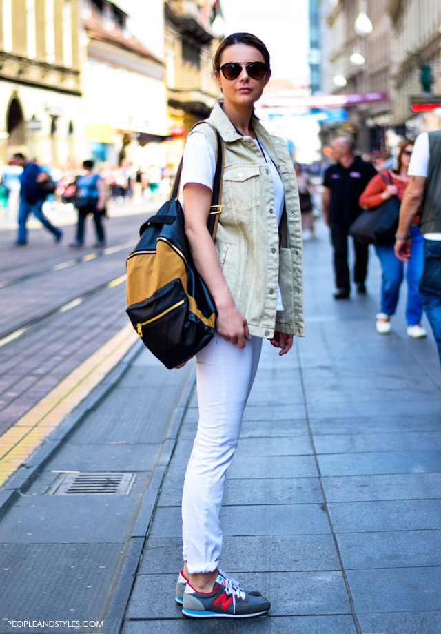 How to style white jeans with New Balance sneakers, plus denim waistcoat, new street style looks, May Zagreb Croatia, Martina Čabraja, Pull&Bear
