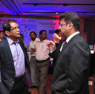 S.J.M. Anzsar, Chairman Gestetner of Ceylon PLC with Avijit Mukherjee, Senior Manager Strategic Marketing for Ricoh Asia (Right)