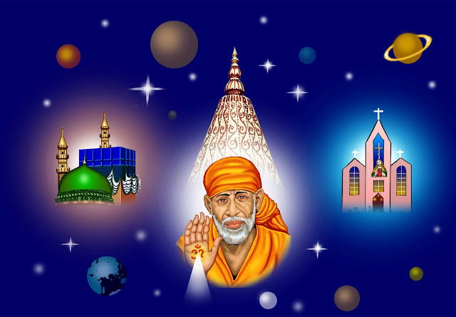 Lord Sai Baba HD Wallpaper In Blue Background