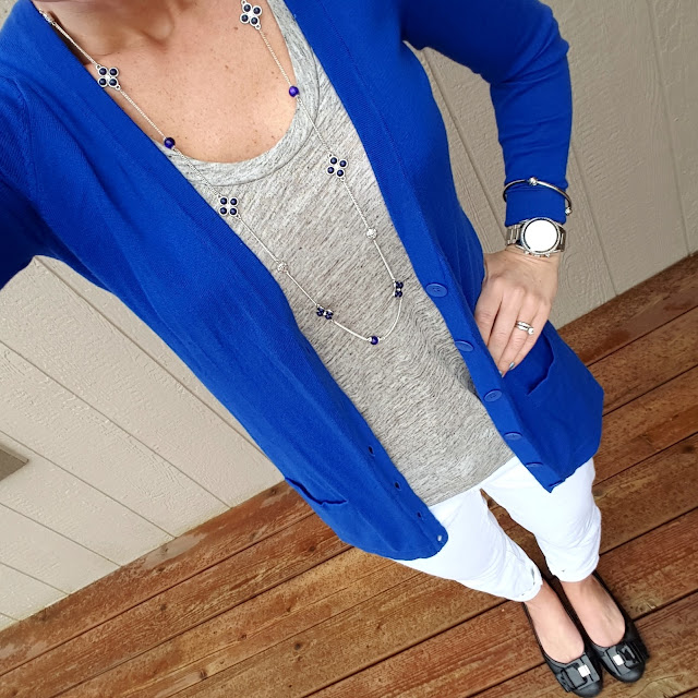 Old Navy Boyfriend Cardigan (this year's version - on sale for $9!, similar in blue) // J. Crew Linen Tank (similar - only $4!) // Gap Factory Jeans (similar - on sale for $28) // Franco Sarto Flats (similar) // Michael Kors Runway Watch // ILY Couture Knot Bracelet