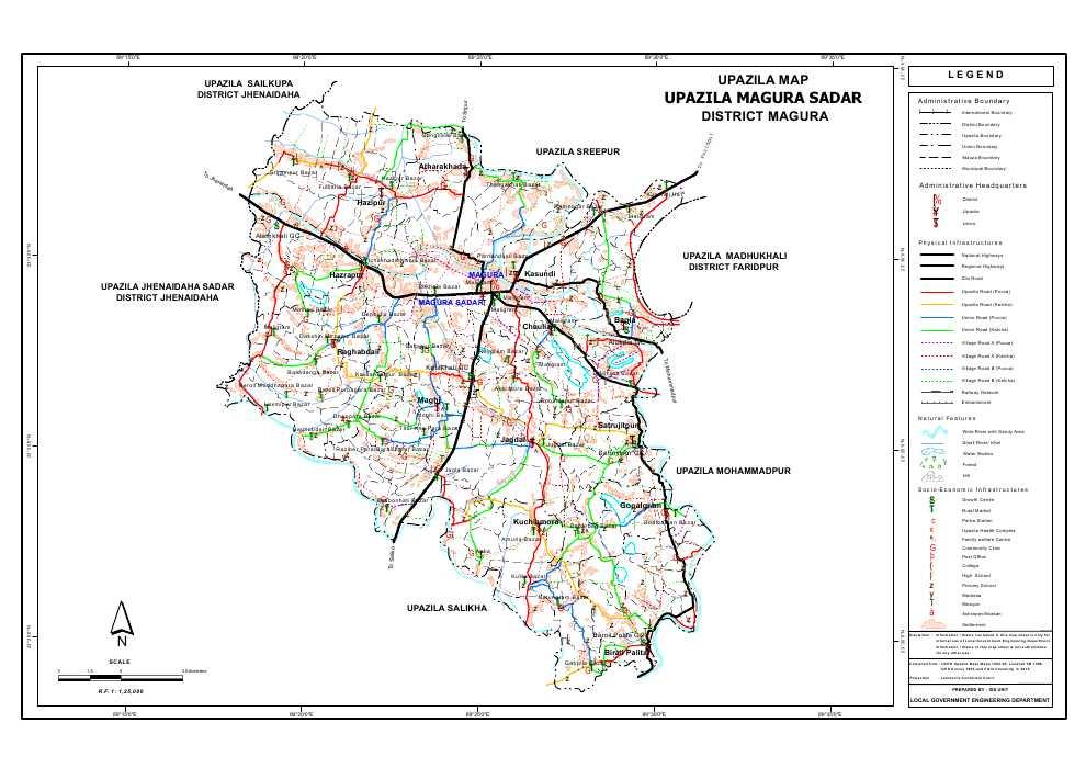 Magura Sadar Upazila Map Magura  District Bangladesh